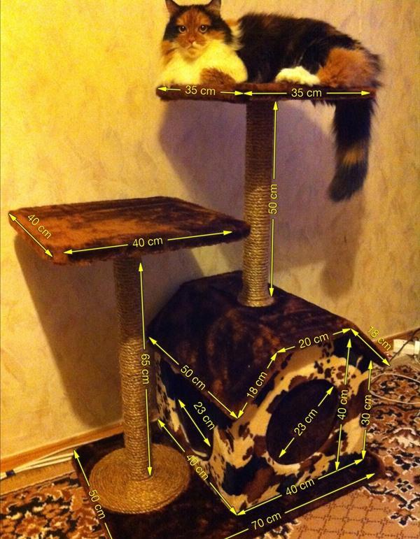 Как сделать кошке когтеточку с домиком